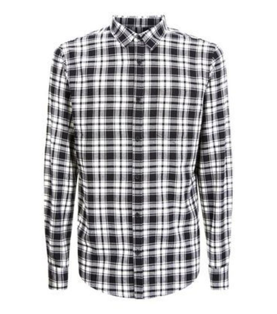Monochrome Check Collared Shirt New Look