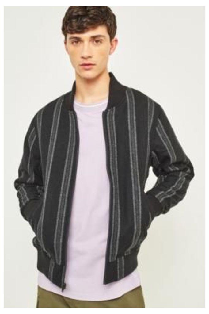 Stussy Wool Stripe Black Bomber Jacket, Black