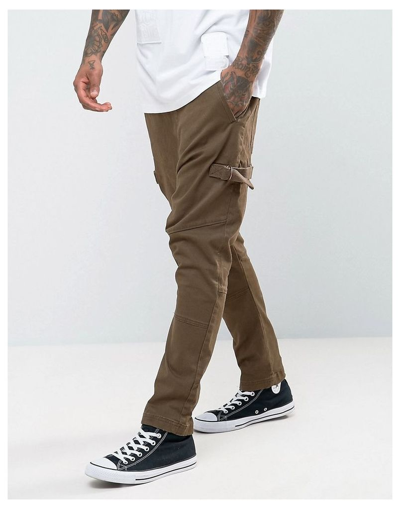 ASOS Drop Crotch Joggers With Taping In Brown - Light brown
