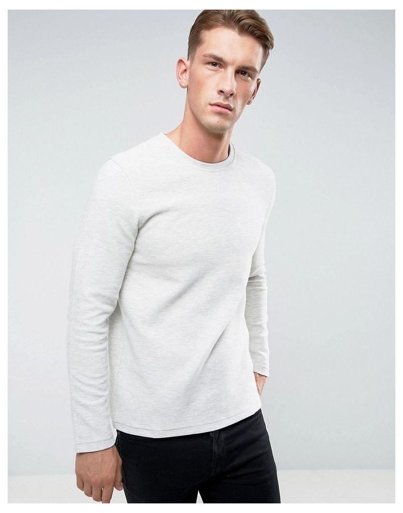 Esprit Sweatshirt in Ribbed Marl - Ecru