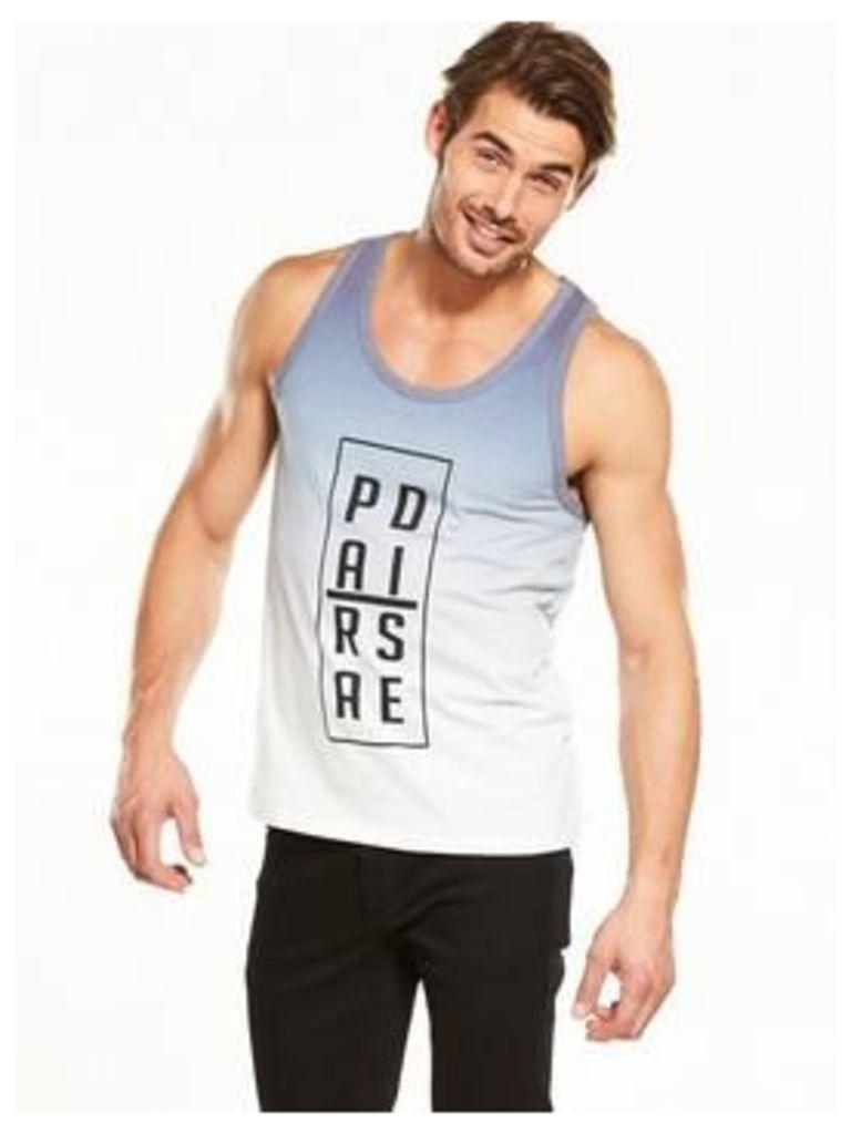 V by Very Graphic Vest, White/Navy, Size Xl, Men