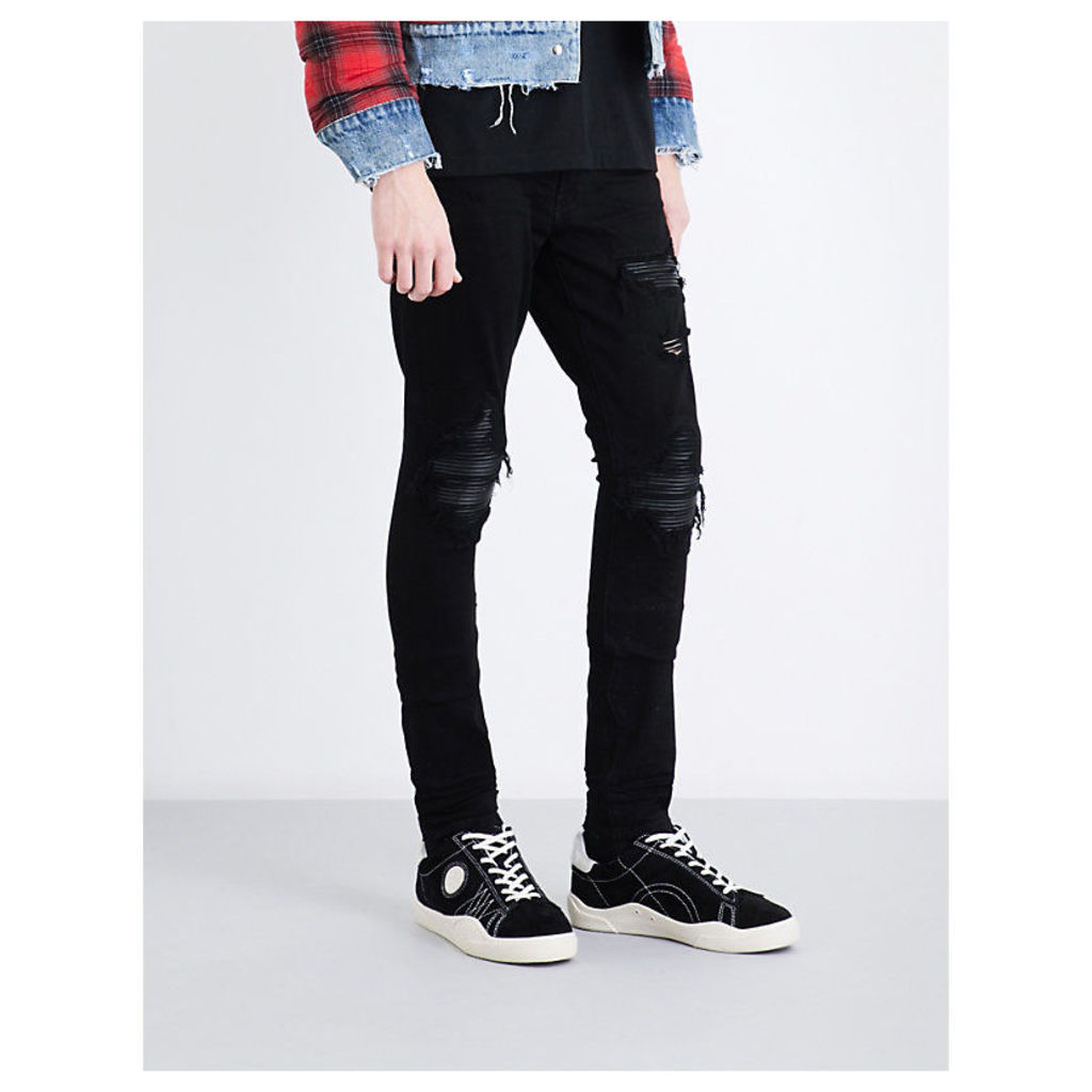 Leather patch slim-fit skinny jeans