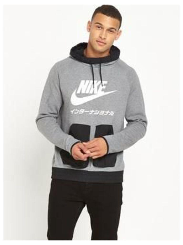 Nike International Overhead Hoodie, Carbon Heather, Size L, Men
