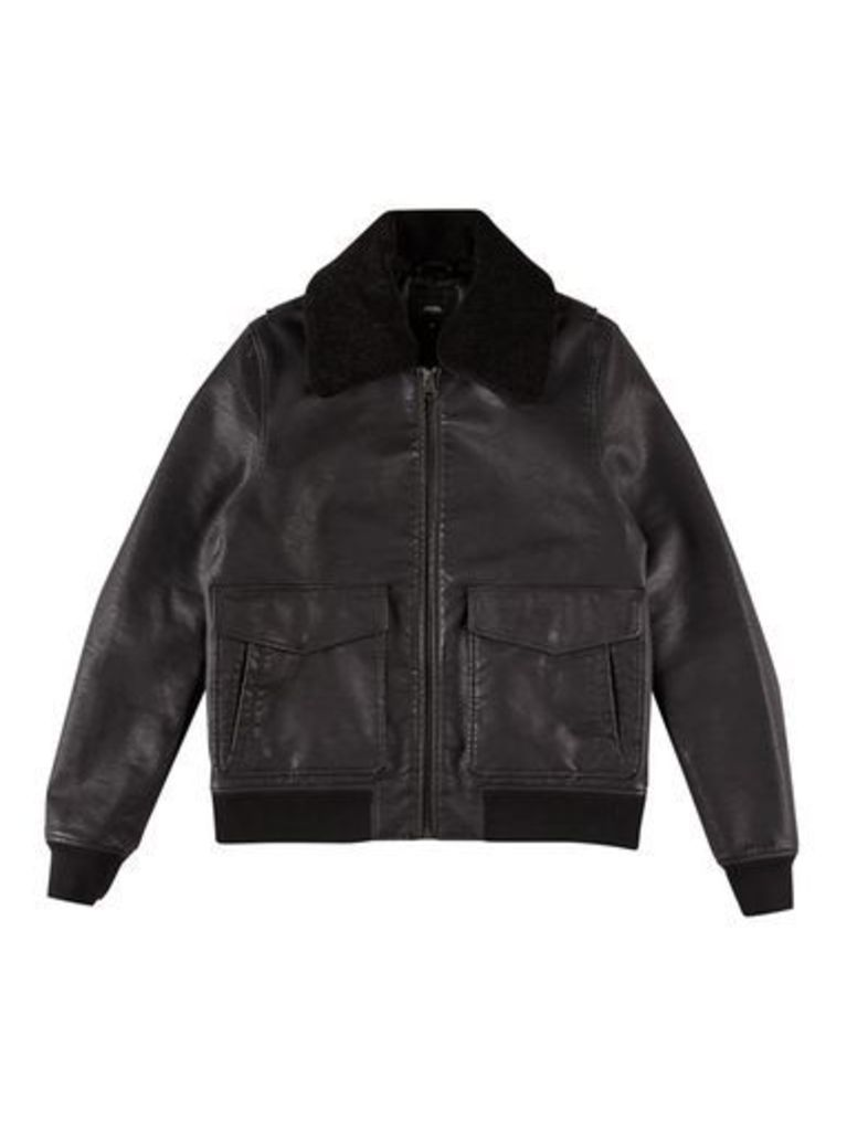 Mens Black Nubuck Borg Biker Jacket, Black