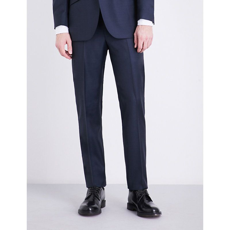 Regular-fit wool and mohair-blend trousers