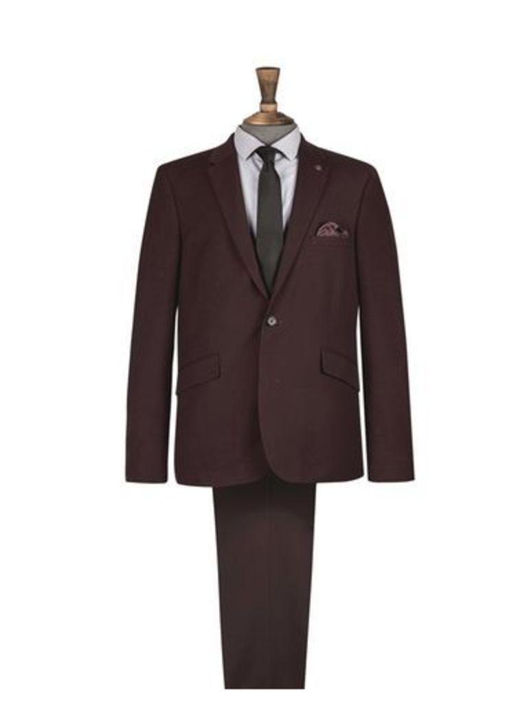 Mens Burgundy Skinny Fit Suit Jacket, BURGUNDY