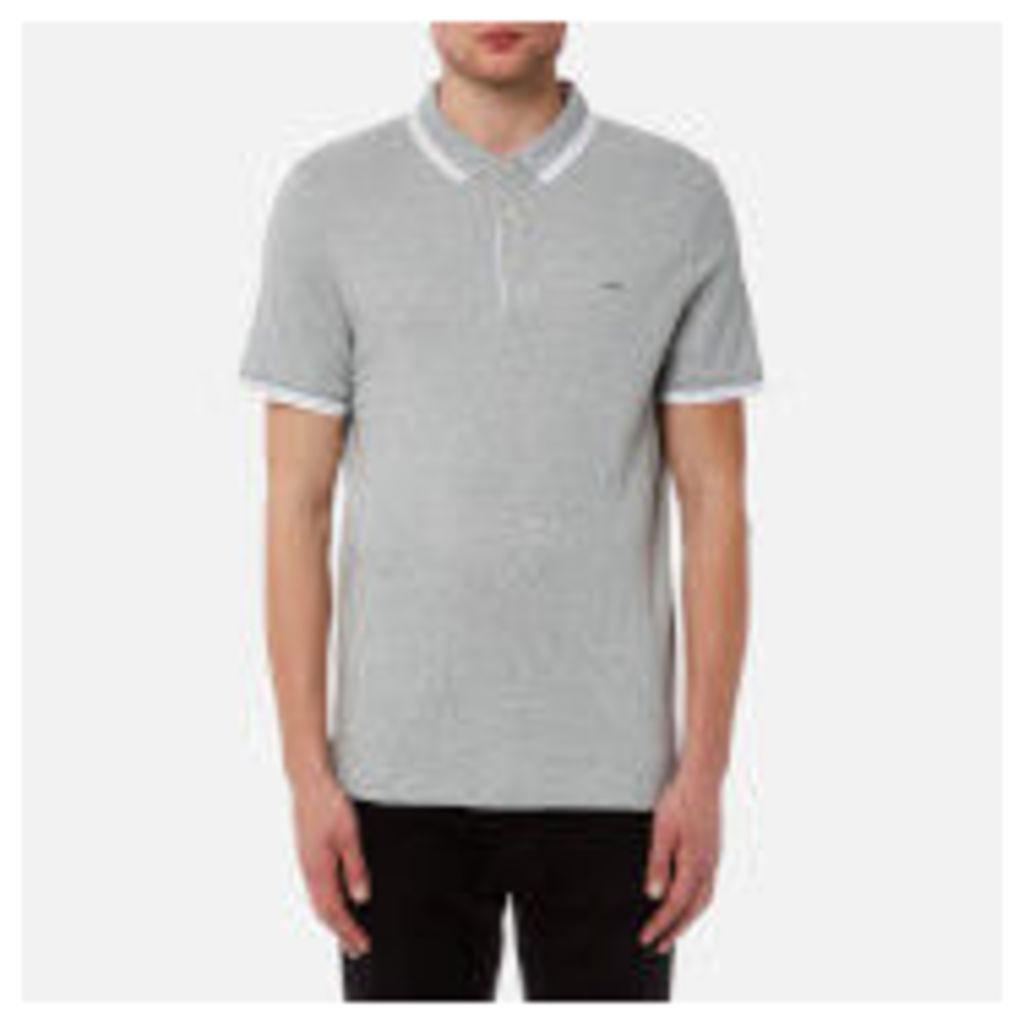 Michael Kors Men's Greenwich Logo Jacquard Short Sleeve Polo Shirt - Heather Grey
