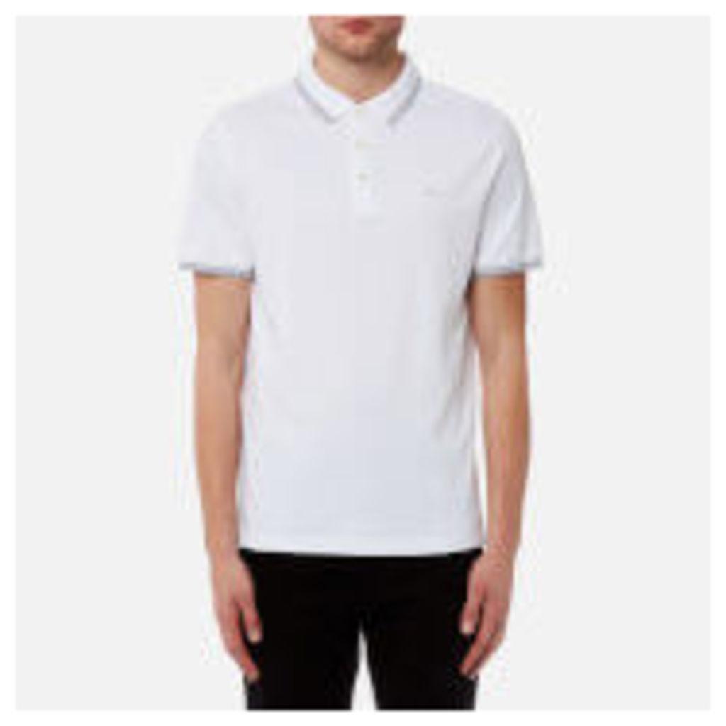 Michael Kors Men's Greenwich Logo Jacquard Short Sleeve Polo Shirt - White