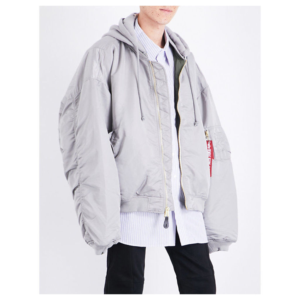 Reversible hooded shell bomber jacket