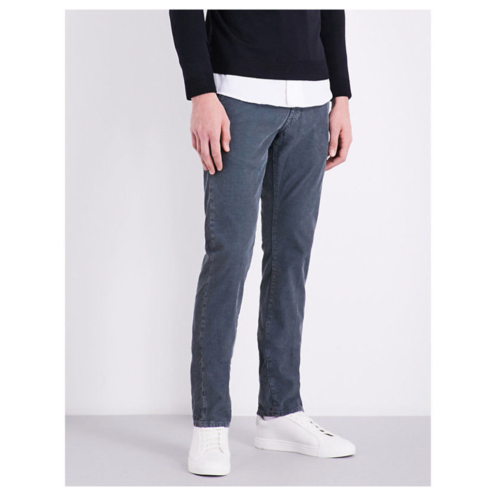 Slim-fit straight stretch-cotton corduroy trousers