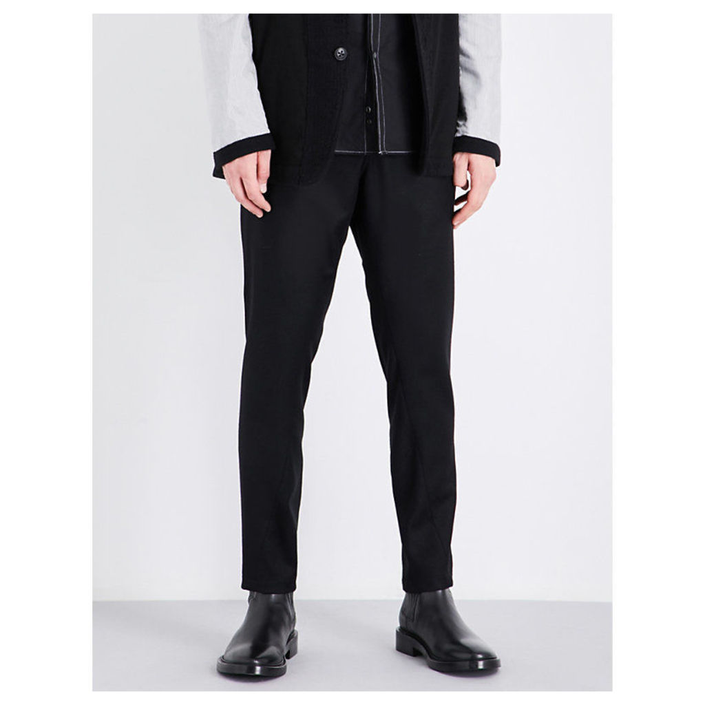 Drawstring-tie tapered regular-fit wool trousers