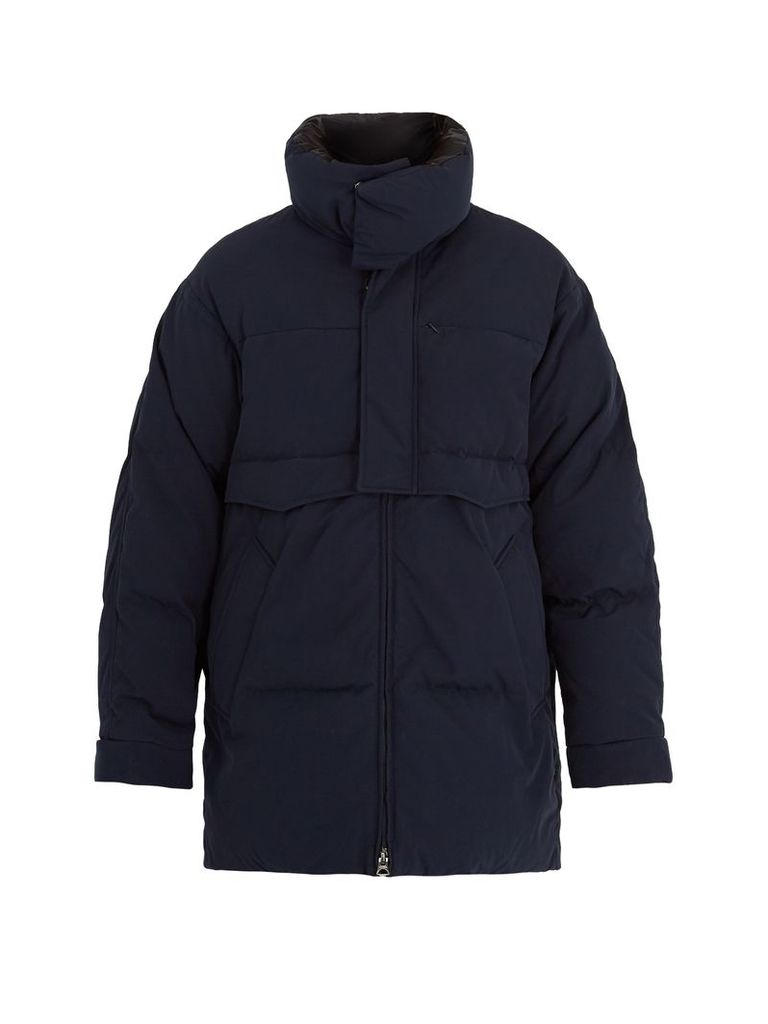 Minus West funnel-neck quilted-down coat