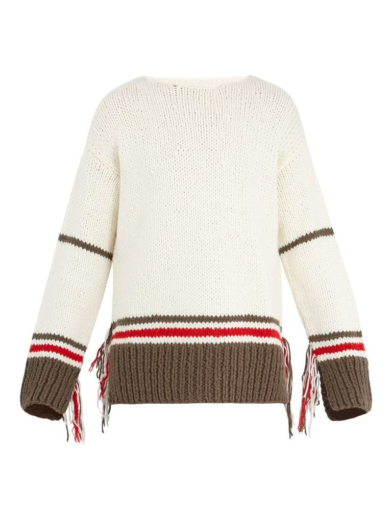 Fringed-knit wool-blend sweater