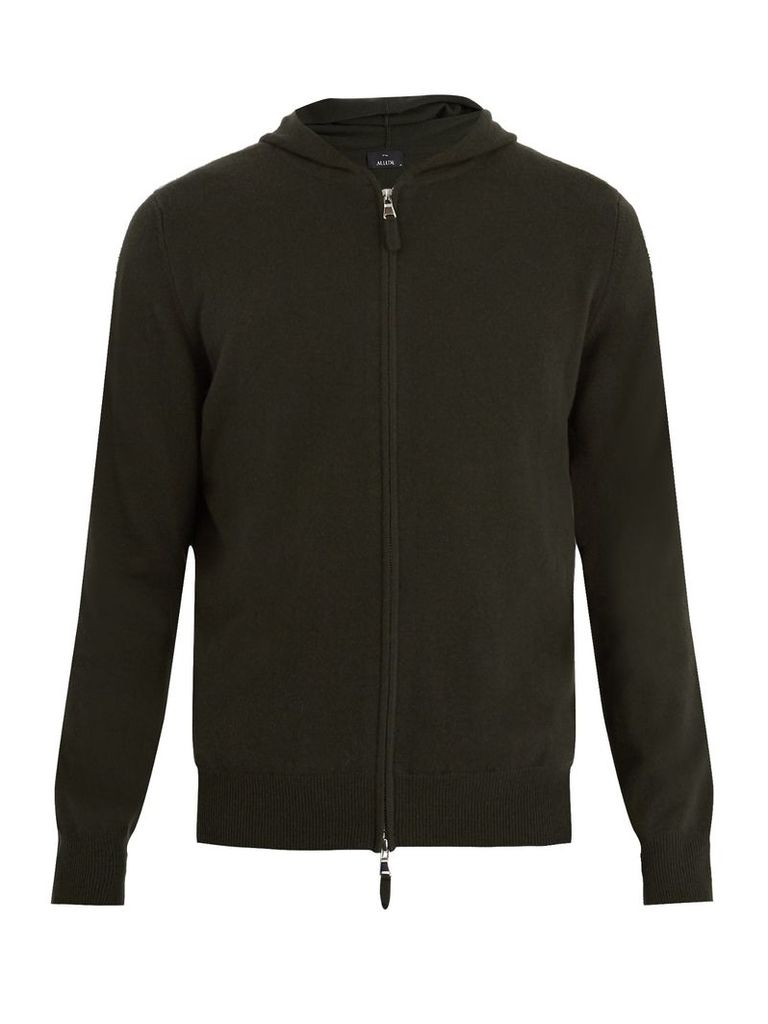 Hooded zip-through cashmere sweater
