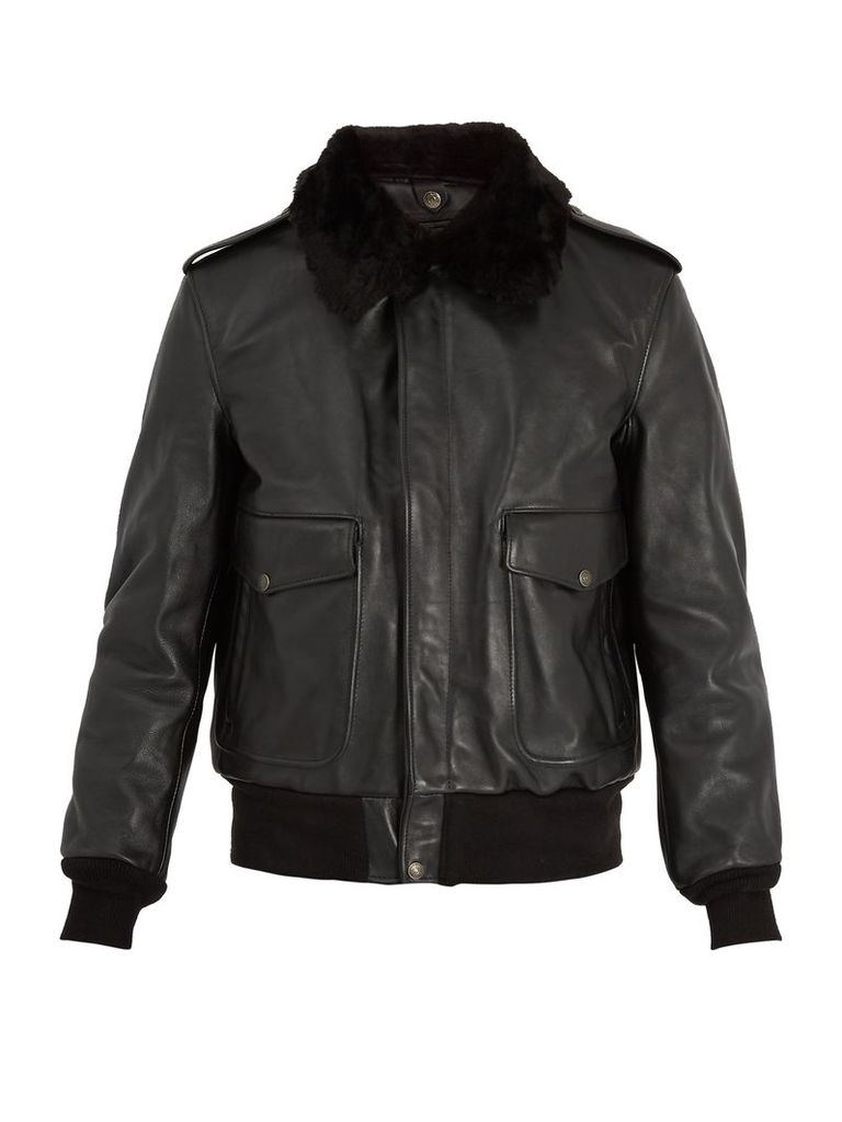Detachable faux-shearling and leather jacket
