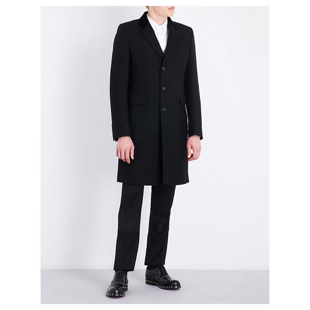 Alexander Mcqueen Velvet-trimmed wool and silk-blend coat, Mens, Size: 40, Black