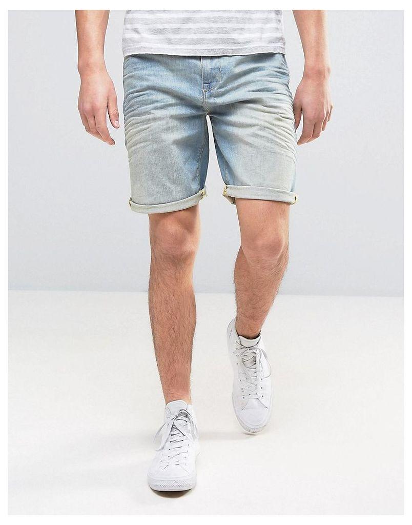 ASOS Denim Shorts In Stretch Slim 12.5oz Light Wash Vintage Blue - Light wash vintage