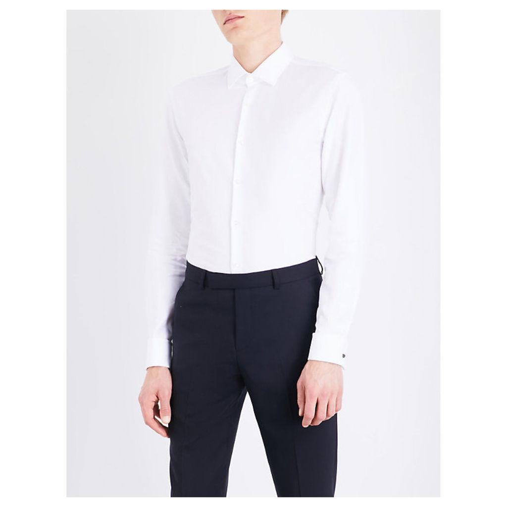 Boss Hopsack slim-fit double-cuff cotton shirt, Mens, Size: 15, White