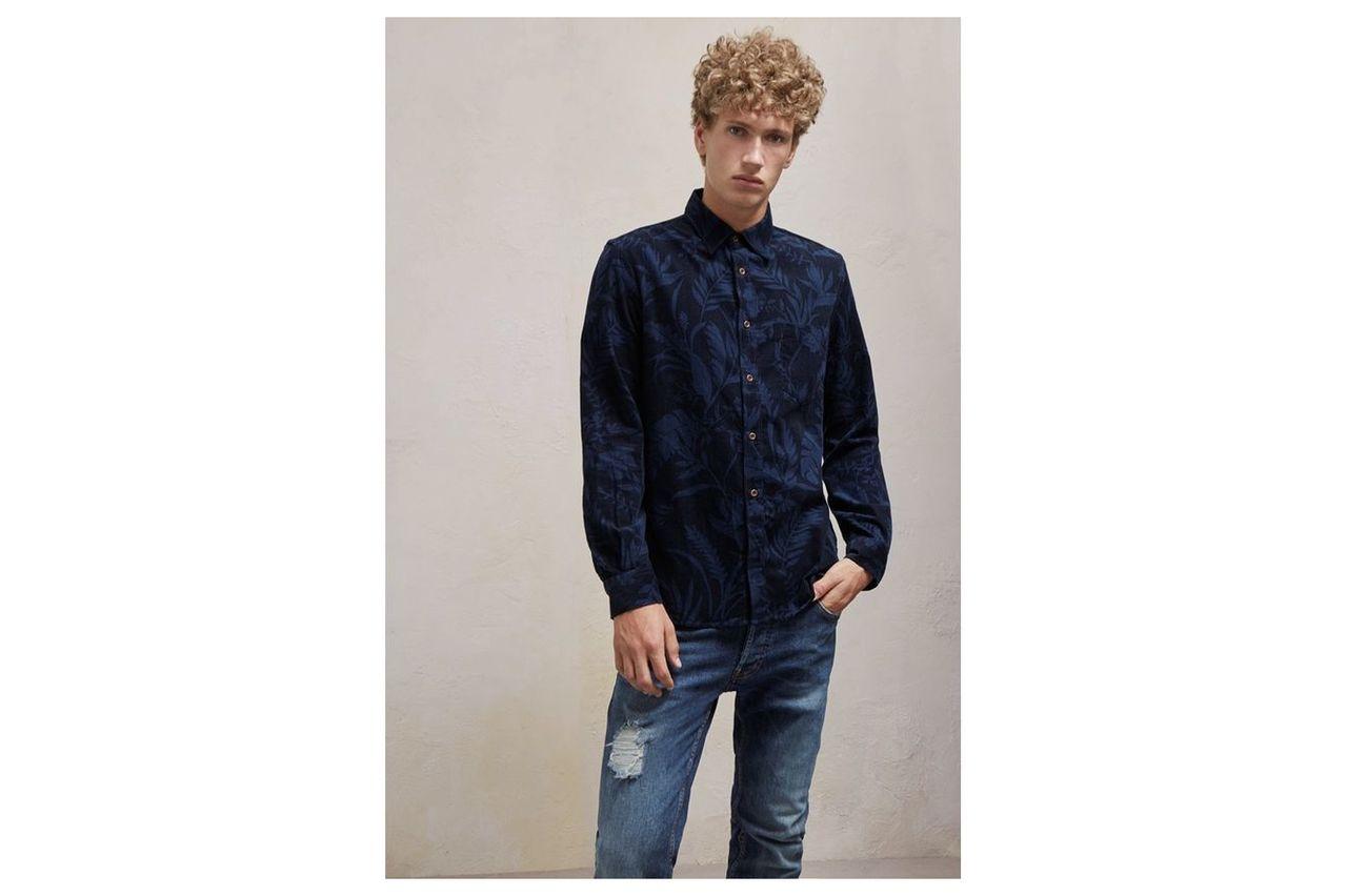 Overdyed Fumio Floral Corduroy Shirt - black iris/marine blue