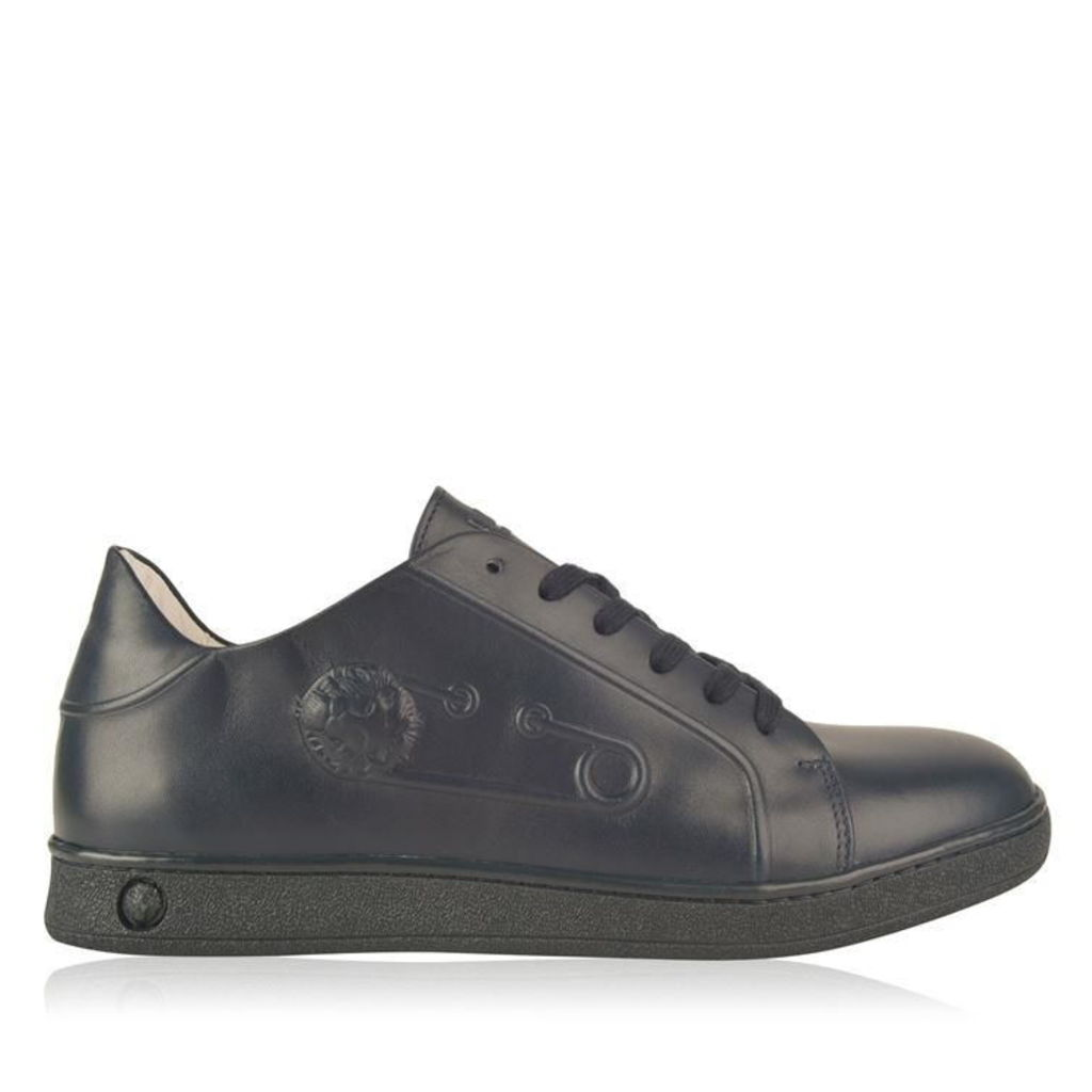 VERSUS VERSACE Embossed Safety Pin Leather Trainers