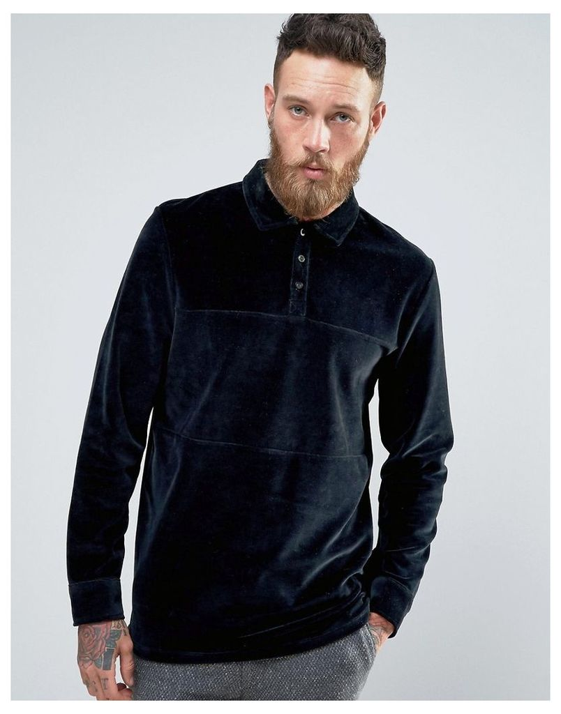 ASOS Longline Long Sleeve Polo Shirt In Navy Velour With Rugby Styling - Navy