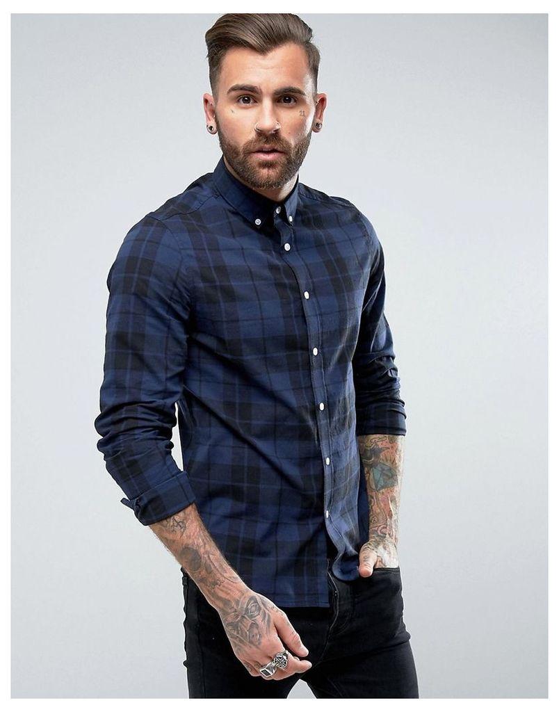 ASOS Stretch Slim Poplin Check Shirt In Blue - Blue