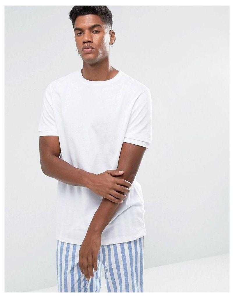ASOS Relaxed Skater Double Sleeve T-Shirt In White - White