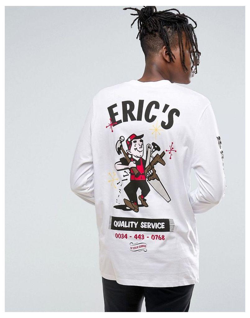 ASOS Longline Long Sleeve T-Shirt With Erics Electrics Print - White