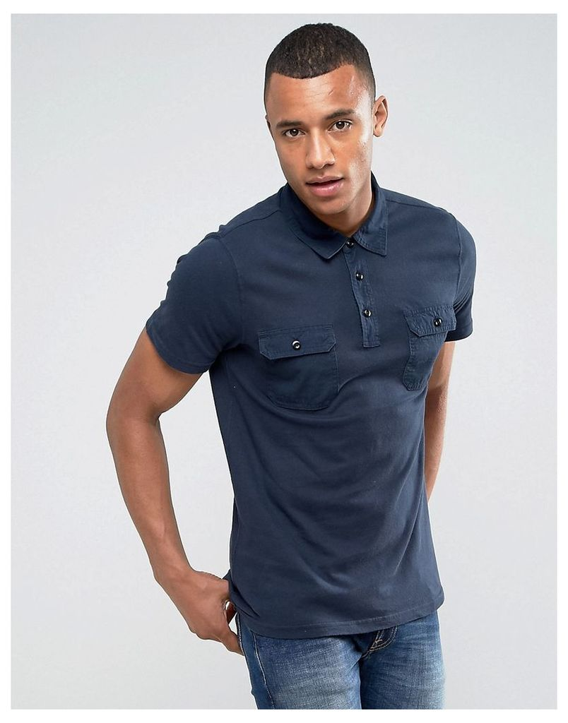 Abercrombie & Fitch Military Muscle Slim Fit Polo Jersey in Navy - Navy