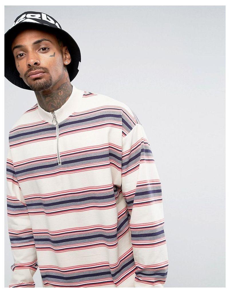 ASOS Oversized Half Zip Track Sweatshirt with Stripe - Off white