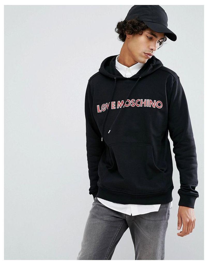 Love Moschino Embroiderd Logo Hoodie - Black