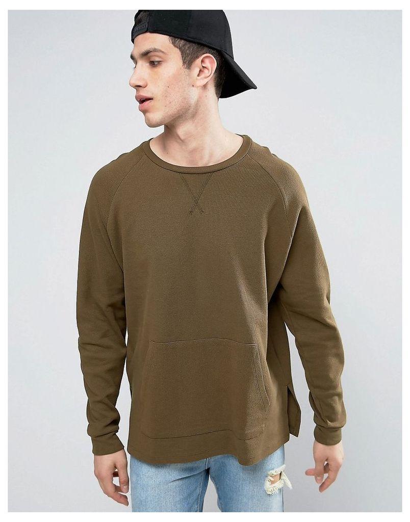 ASOS Waffle Sweatshirt - Balsam