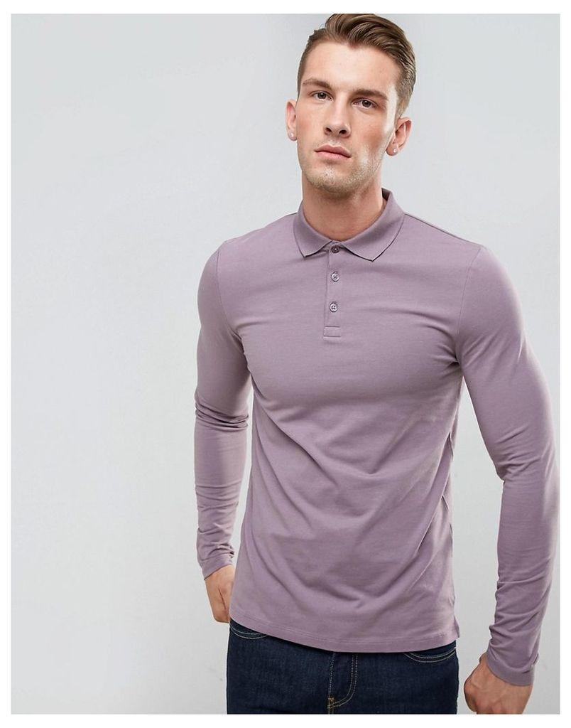 ASOS Muscle Fit Long Sleeve Jersey Polo In Purple - Dusty lilac