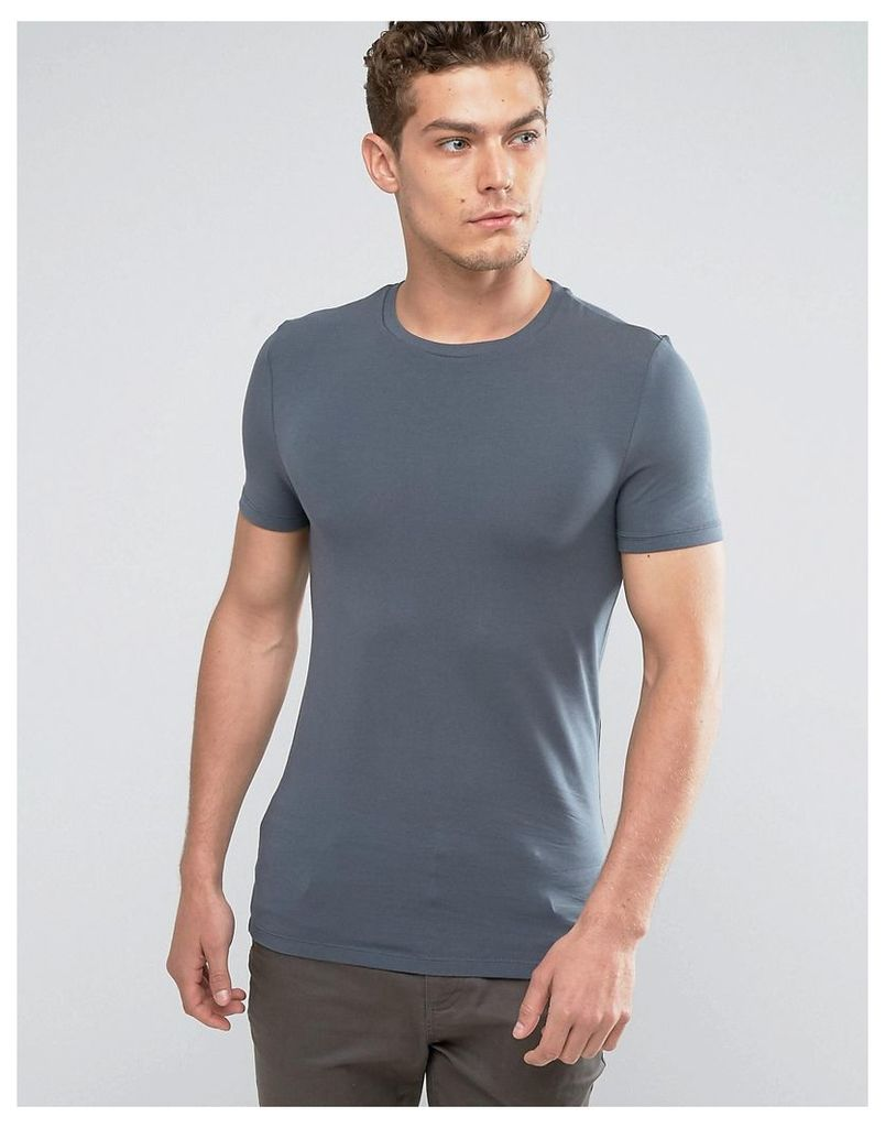 ASOS Extreme Muscle Fit T-Shirt With Crew Neck And Stretch In Blue - Dark slate