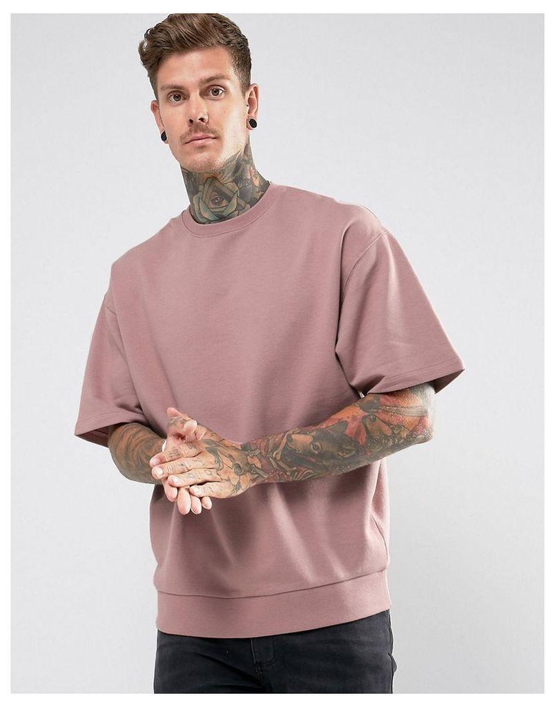 ASOS Oversized Short Sleeve Sweatshirt In Pink - Dream