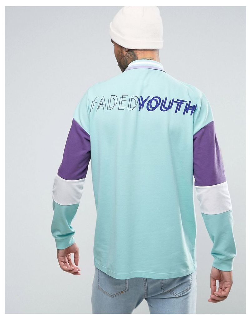 ASOS Oversized Long Sleeve Pique Polo With Faded Youth Back Print - Pale green