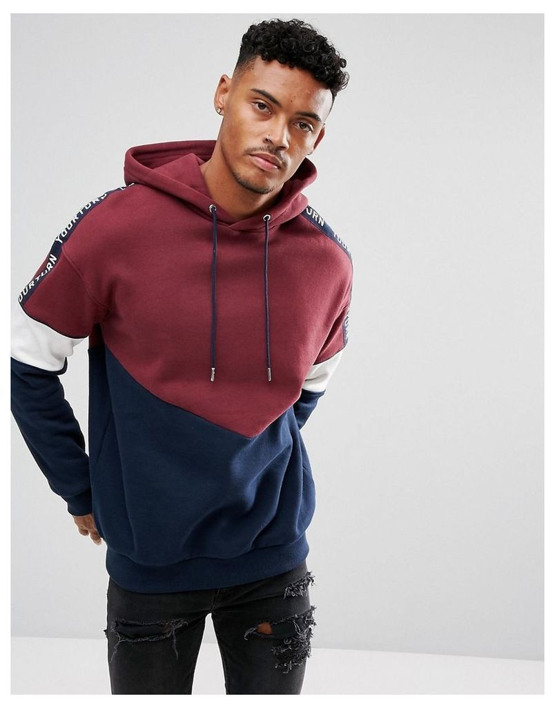 YOURTURN Oversized Sweatshirt In Burgundy With Contrast Panels - Red