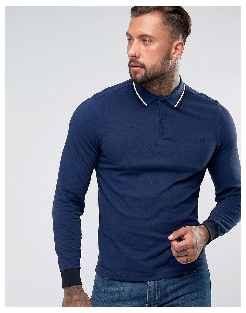 Fred Perry Slim Fit Long Sleeve Tipped Polo In Blue - Pacific