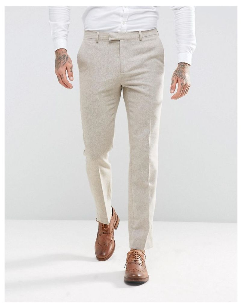 Harry Brown Slim Fit Donegal Nep Suit Trousers - Beige