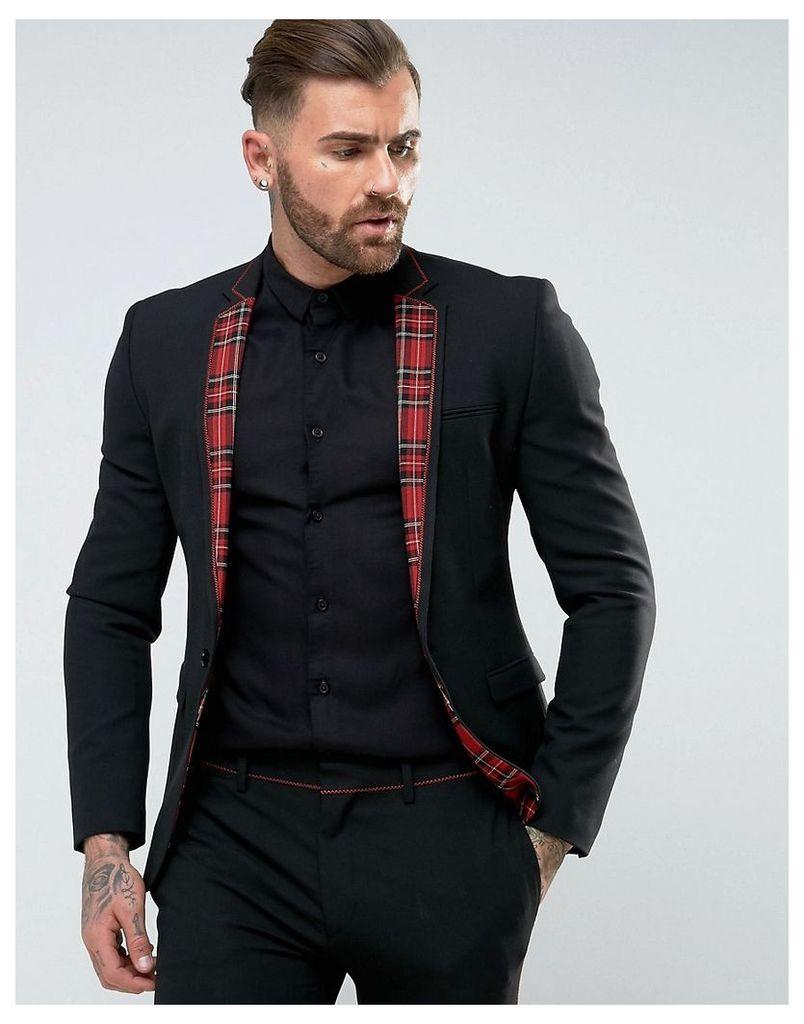 ASOS Super Skinny Suit Jacket In Black With Tartan Trim - Black