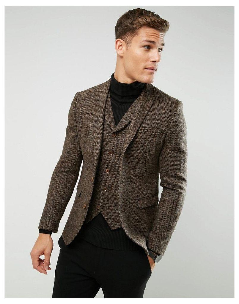 ASOS Slim Blazer In Harris Tweed 100% Wool Herringbone - Brown