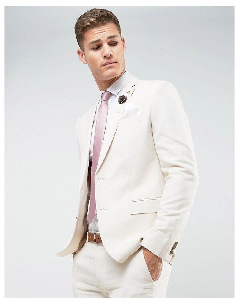 Farah Wedding Skinny Suit Jacket In Linen - Stone
