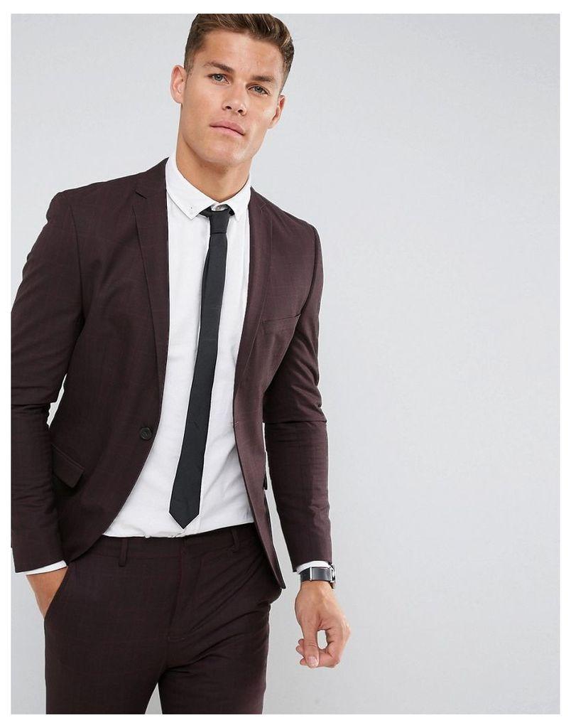 Selected Homme Super Skinny Suit Jacket In Burgundy Check - Winetasting