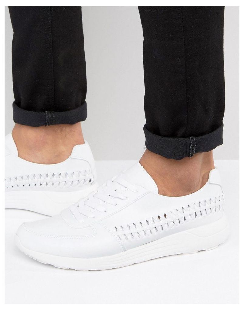 ASOS Trainers In White With Woven Detail - White