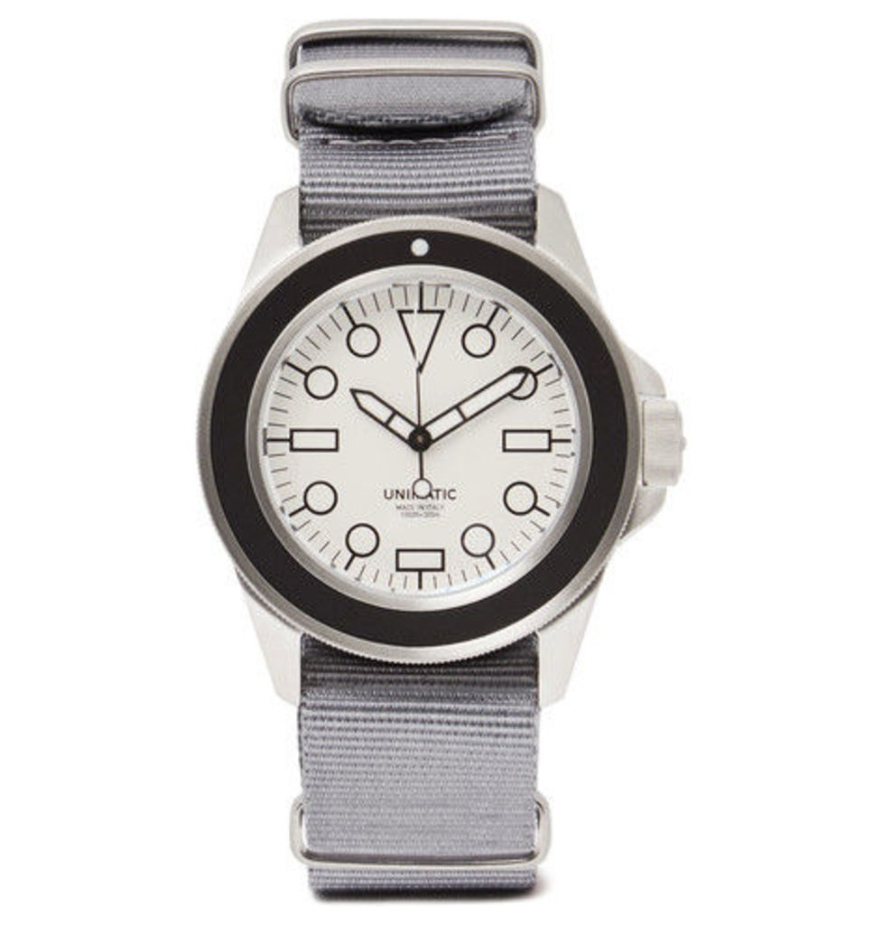 Unimatic - Modello Uno U1-dw Automatic Brushed Stainless Steel And Webbing Watch - Gray
