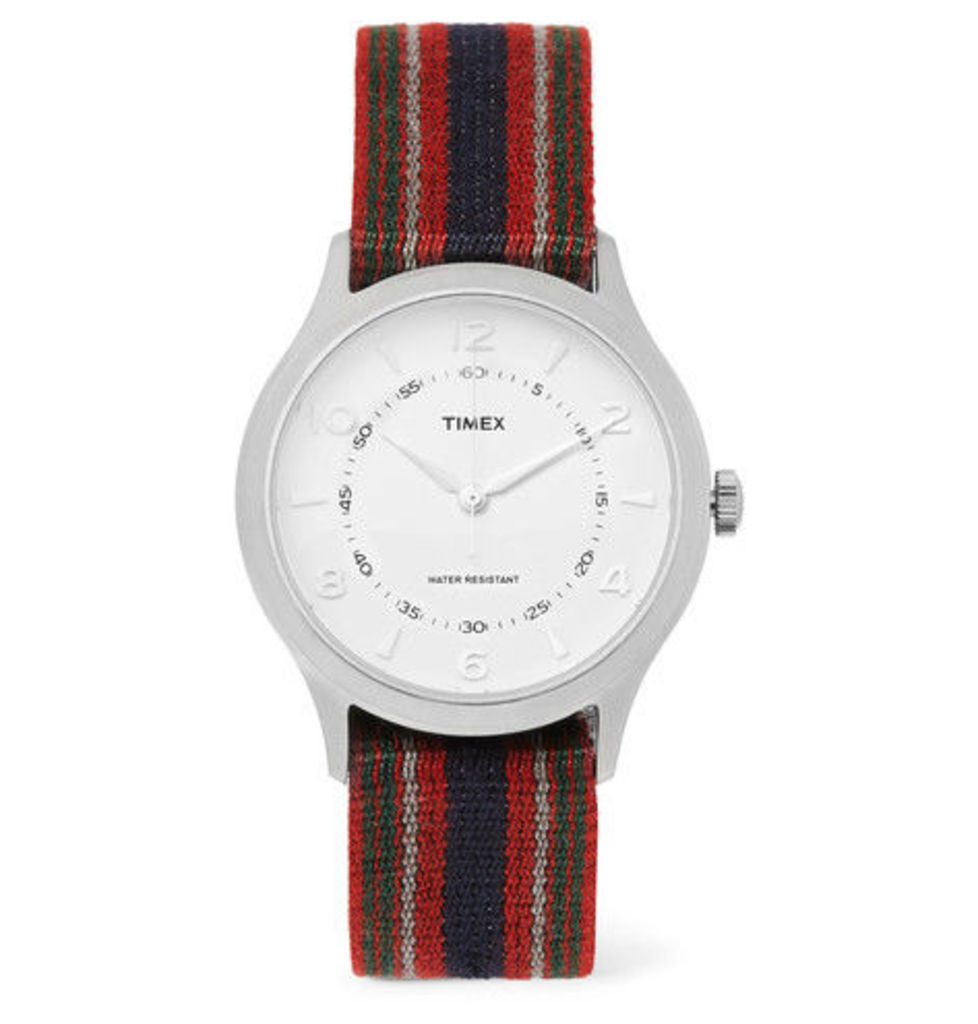Timex - Whitney Village Reversible Stainless Steel And Grosgrain Watch - Red