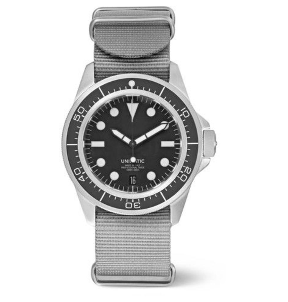Unimatic - Modello Uno U1-d Automatic Brushed Stainless Steel And Webbing Watch - Gray
