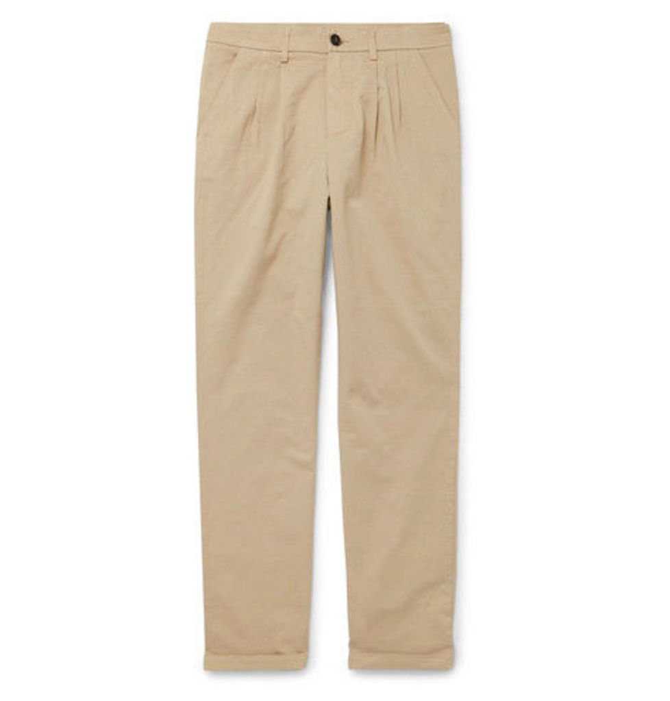 Barena - Tapered Stretch-cotton Twill Trousers - Beige
