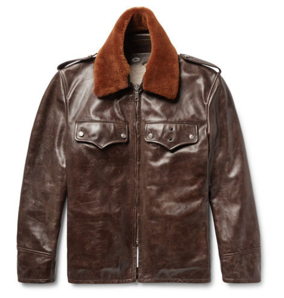CALVIN KLEIN 205W39NYC - Shearling-trimmed Distressed Leather Jacket - Dark brown