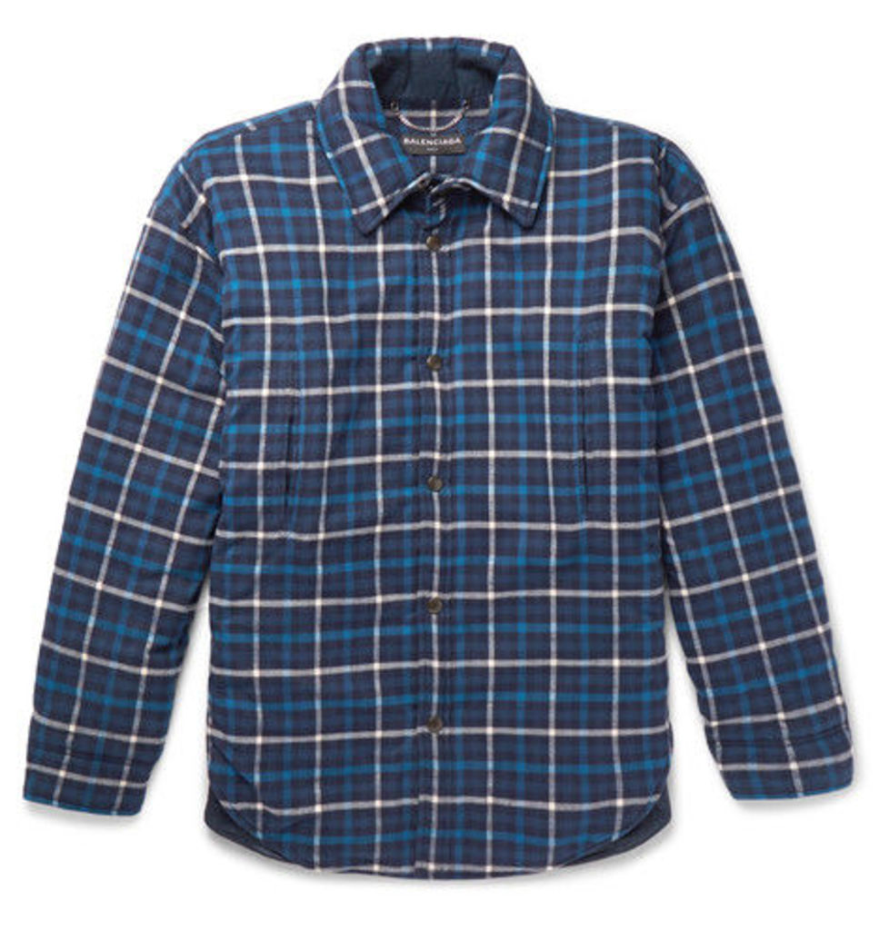 Balenciaga - Oversized Padded Checked Cotton-flannel Overshirt - Blue